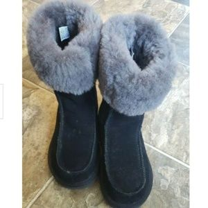UGG Black Downtown Suede Fur Boots